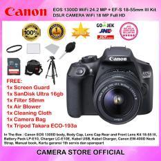 CANON EOS 1300D EF-S 18-55mm III WiFi 18MP Garansi 1th + Screen Guard + SanDisk Ultra 16gb + Filter 58mm + Blower + Cloth + Camera Bag + Tripod Takara ECO-193A