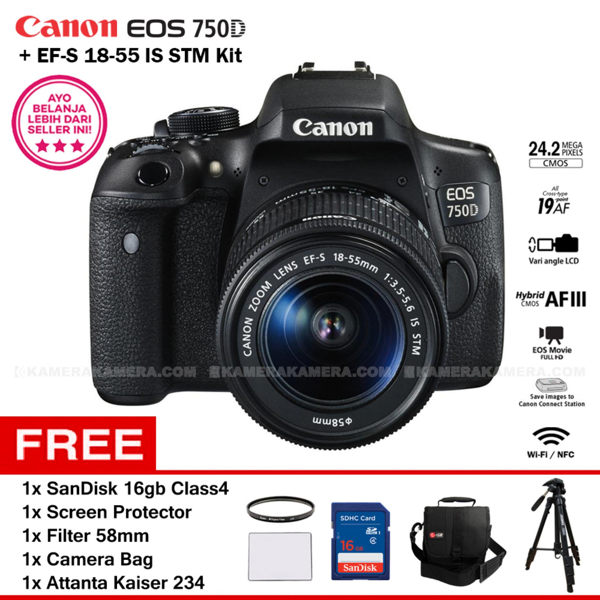 CANON EOS 750D + EF-S 18-55 IS STM Kit Lens WiFi 24.2MP 19AF point Vari-angle LCD Full HD + Filter 58mm + Screen Protector + SanDisk 16GB + Camera Bag + Attanta Kaiser 234
