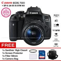 Promo Canon Eos 750D Ef S 18 55 Is Stm Kit Lens Wifi 24 2Mp 19Af Point Vari Angle Lcd Full Hd Filter 58Mm Screen Protector Sandisk 16Gb Camera Bag Indonesia