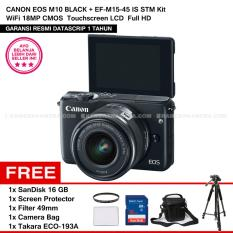 Beli Canon Eos M10 Black Ef M15 45 Is Stm Kit Wifi 18Mp Cmos Touchscreen Lcd Full Hd Datascrip Sandisk 16Gb Screen Protector Filter 49Mm Camera Bag Takara Eco 193A Online Terpercaya