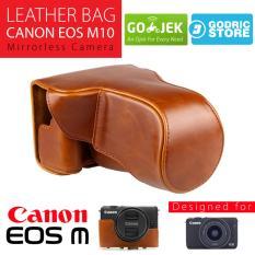 Jual Canon Eos M10 Leather Bag Case Tas Kulit Kamera Mirrorless 15 45 Mm 18 55 Mm Coklat Muda Di Dki Jakarta