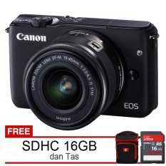 Canon EOS M10 Lensa EF-M 15-45mm + Free SDHC 16GB dan Tas