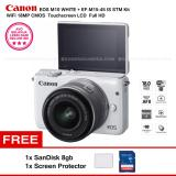 Harga Canon Eos M10 White Ef M15 45 Is Stm Kit Wifi 18Mp Cmos Touchscreen Lcd Full Hd Sandisk 8Gb Screen Protector Merk Canon