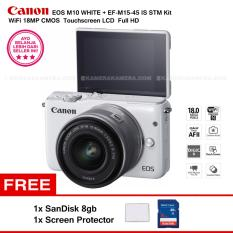 Beli Canon Eos M10 White Ef M15 45 Is Stm Kit Wifi 18Mp Cmos Touchscreen Lcd Full Hd Sandisk 8Gb Screen Protector Terbaru