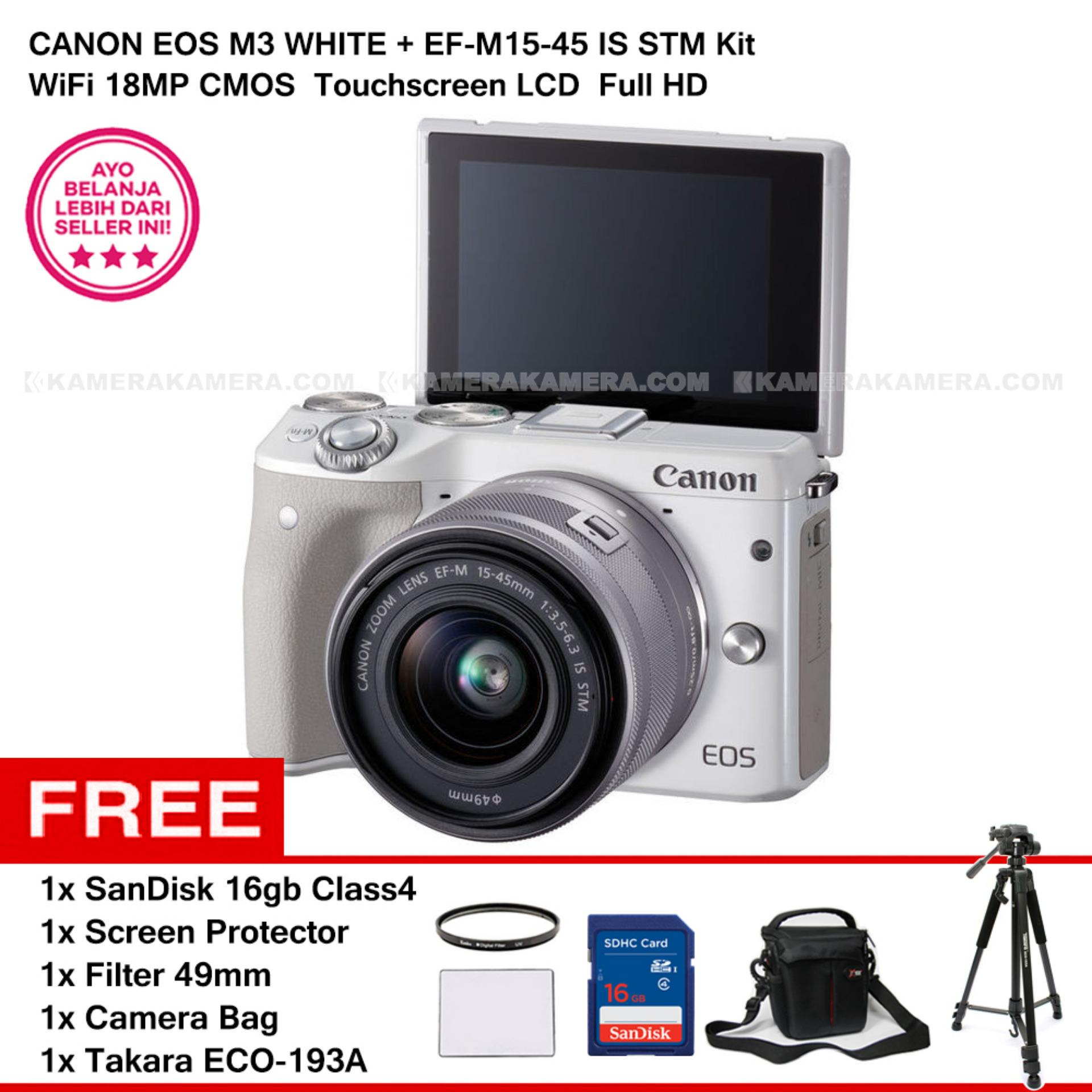 Harga Canon Eos M3 Ef M15 45 Is Stm Kit White 24 2Mp Wifi Touchscreen Lcd Sandisk 16Gb Screen Protector Filter 49Mm Camera Bag Takara Eco 193A Online