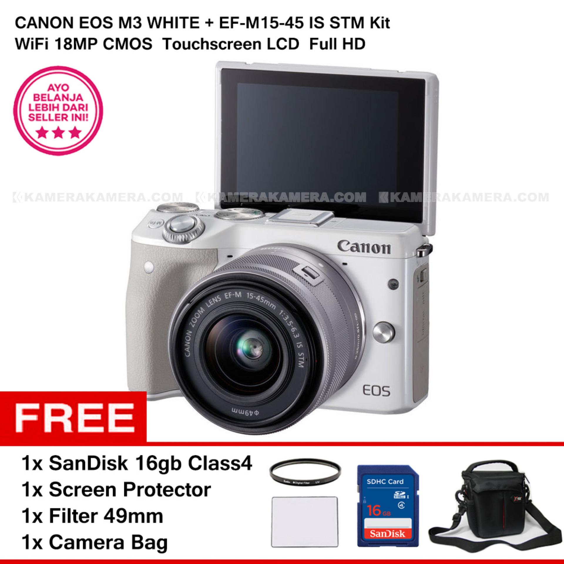 CANON EOS M3 + EF-M15-45 IS STM KIT (WHITE) 24.2MP WiFi Touchscreen LCD + SanDisk 16gb + Screen Protector + Filter 49mm + Camera Bag