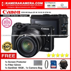 Spesifikasi Canon Eos M3 Black Ef M 18 55 Is Stm Kit Garansi 1Th Kamera Mirrorless M3 Cmos 24 2Mp Full Hd Screen Protector Sandisk 16Gb Filter 52Mm Camera Bag Murah Berkualitas