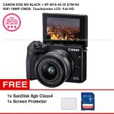 Promo Canon Eos M3 Ef M15 45 Is Stm Kit Black 24 2Mp Wifi Touchscreen Lcd Sandisk 8Gb Screen Protector Murah