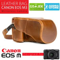 Canon EOS M3 Leather Bag / Case / Tas Kulit Kamera Mirrorless Kit 15-45 MM / 18-55 MM - Coklat Muda