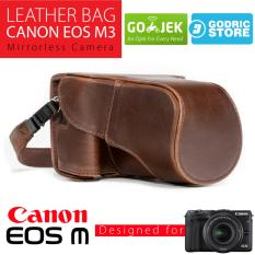 Canon EOS M3 Leather Bag / Case / Tas Kulit Kamera Mirrorless Kit 15-45 MM / 18-55 MM - Coklat Tua