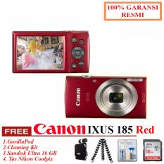 Canon IXUS 185 BLACK - Pocket Camera 20 MP 28mm Wide 8x Optical Zoom + Gorilapod + Cleanig Kit + bonus Tas Nikon (Resmi Datascrip)