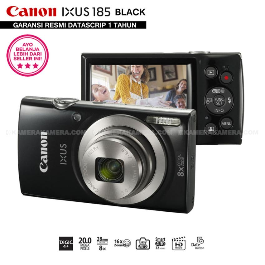 Spesifikasi Canon Ixus 185 Black Pocket Camera 20 Mp 28Mm Wide 8X Optical Zoom Resmi Datascrip
