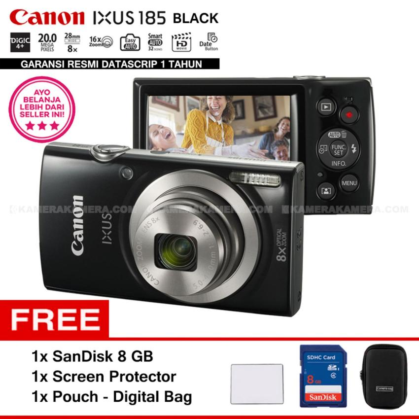Harga Canon Ixus 185 Black Pocket Camera 20 Mp 28Mm Wide 8X Optical Zoom Resmi Datascrip Sandisk 8 Gb Screen Protector Pouch Canon Original