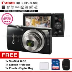 Harga Termurah Canon Ixus 185 Black Pocket Camera 20 Mp 28Mm Wide 8X Optical Zoom Resmi Datascrip Sandisk 8 Gb Screen Protector Pouch