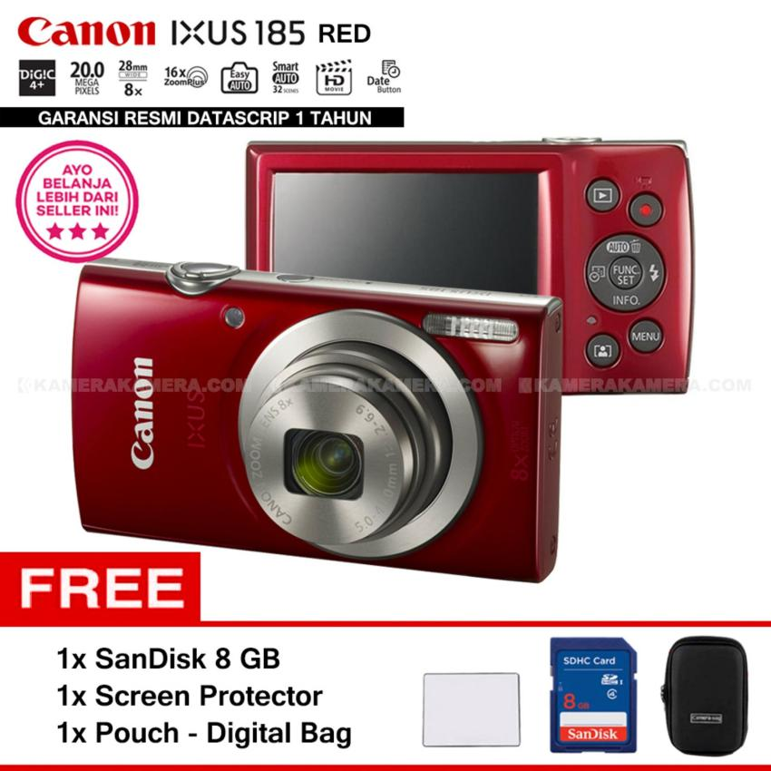 Jual Canon Ixus 185 Red Pocket Camera 20 Mp 28Mm Wide 8X Optical Zoom Resmi Datascrip Sandisk 8 Gb Screen Protector Pouch Canon Ori