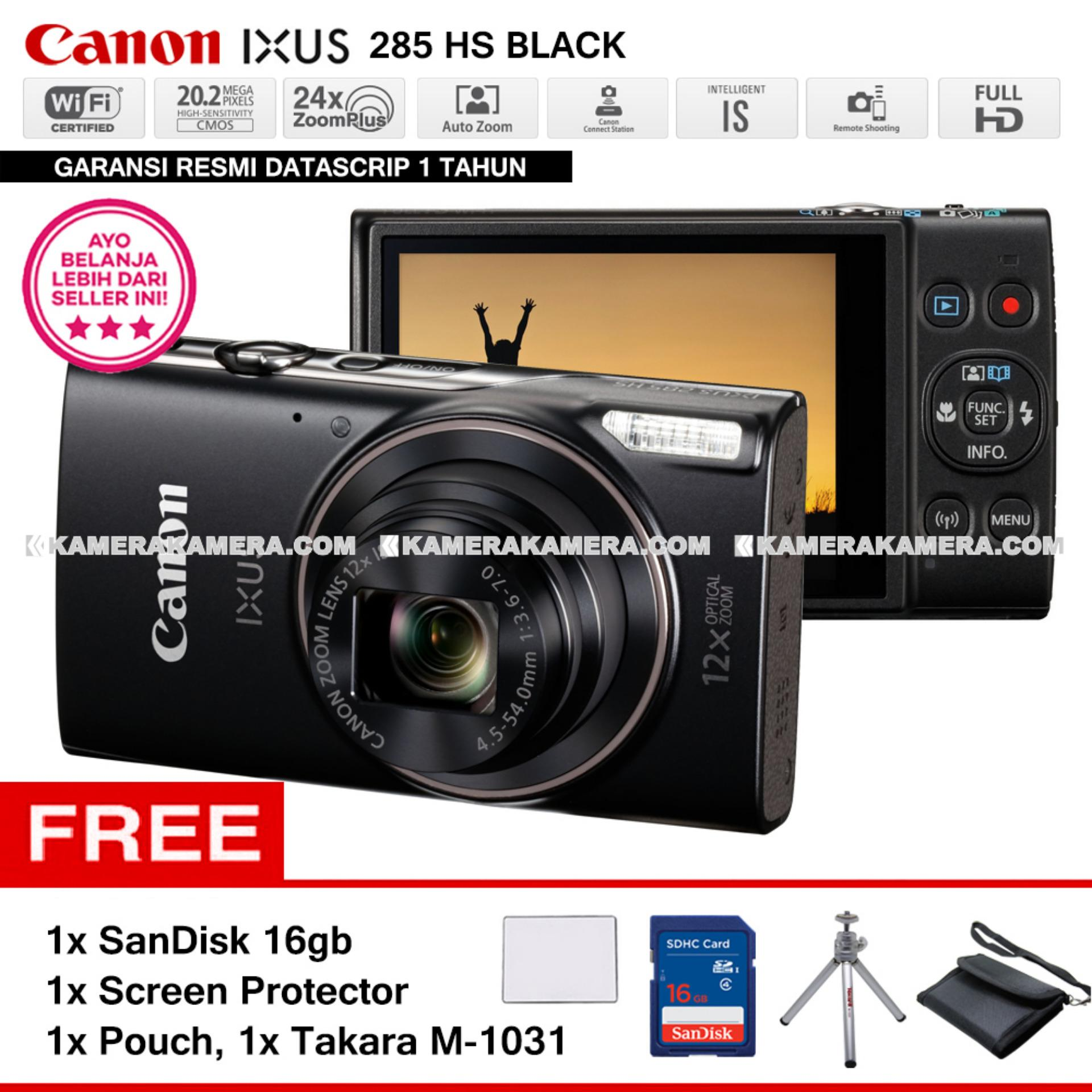 Harga Canon Ixus 285 Hs Black Wifi 20 2Mp Full Hd Pocket Camera Resmi Datascrip Sandisk 8Gb Screen Protector Pocket Case Takara M 1031 Canon Baru