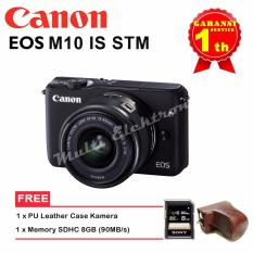 Canon Kamera EOS M10 KIT With Lens EF-M15-45mm - Hitam+Memori SDHC 8GB (90MBs)+PU Leather Case Camera