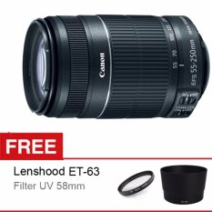 Canon Lensa EF-S 55-250 IS STM f/4-5.6 + Gratis Lenshood ET-63 + Filter UV