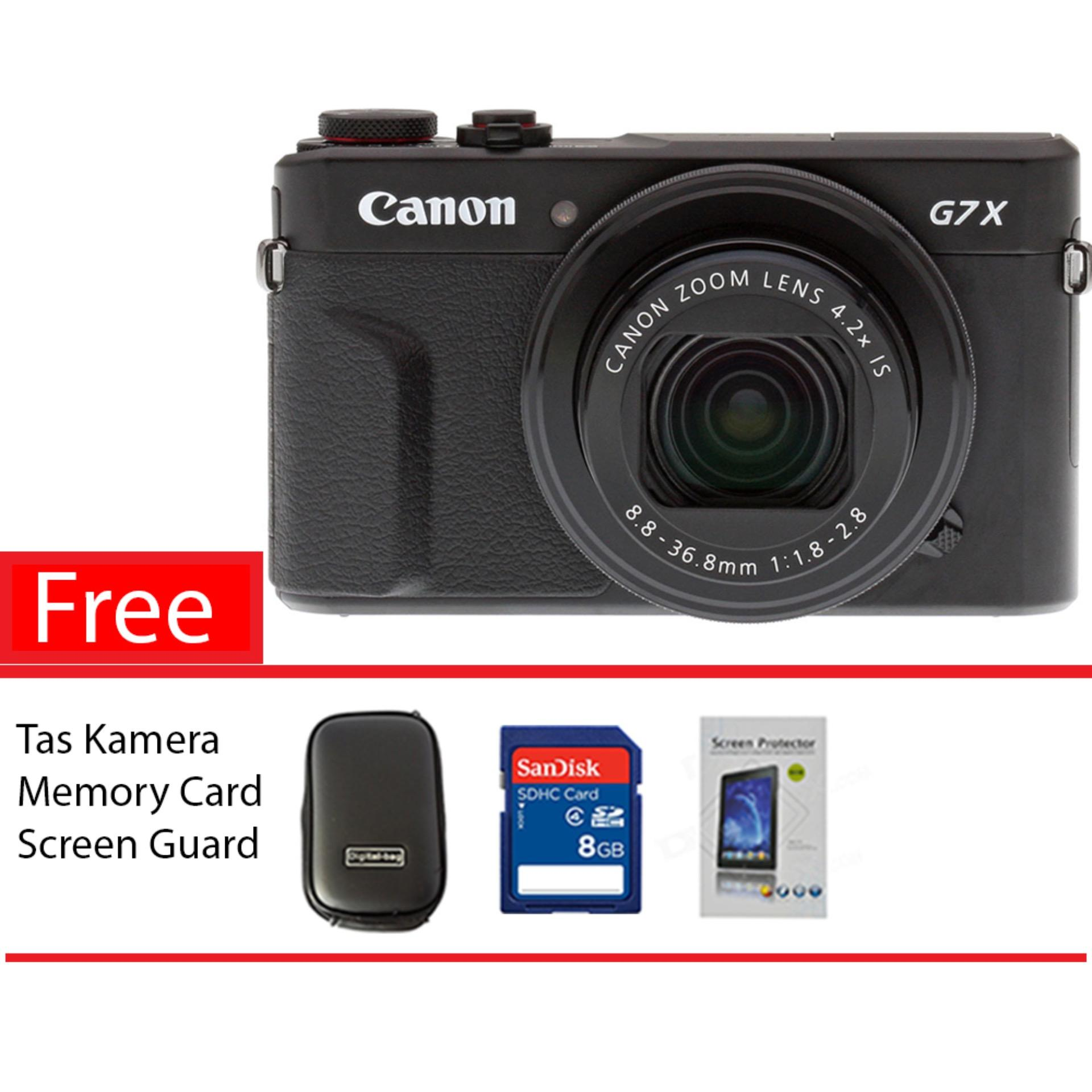Canon Powershot G7X Mark Ii 20 1Mp Digital Camera Hitam Free Memory Card Screen Guard Tas Kamera Asli