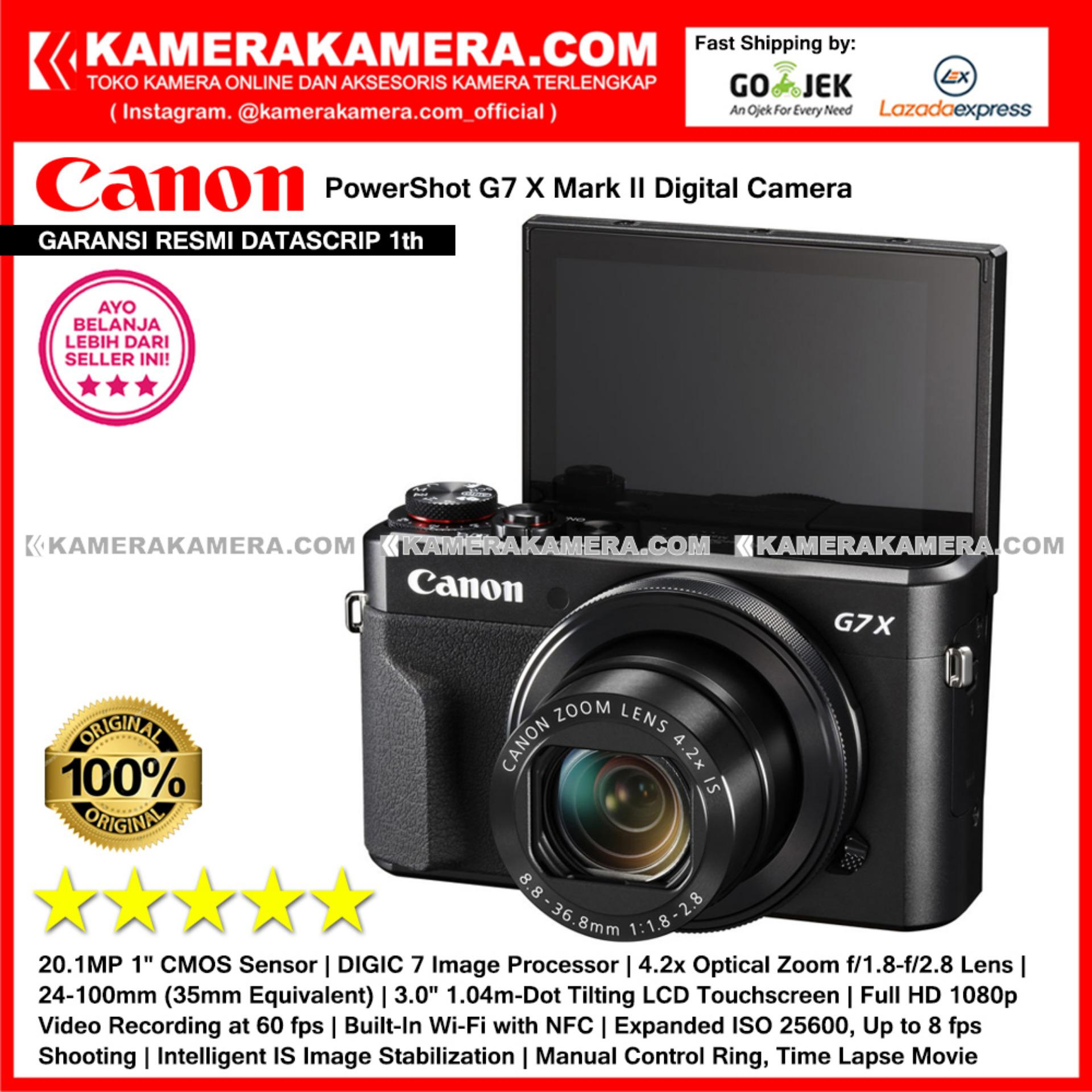Canon Powershot G7X Mark II Kamera Pocket (Garansi Resmi Datascrip 1th) Wi-Fi 20.1 MP Tilting LCD Touchscreen