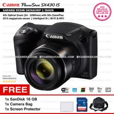Canon PowerShot SX430 IS - WiFi 20MP 45x Optical Zoom (Resmi) + SanDisk 16gb + Screen Protector + Bag