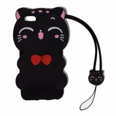 Cantiq Softcase Cat 3D For Apple iPhone 6 Ukuran 4.7 inch / 6G / 6S Silicone 3D Black Meow Party Cat Kitty + Necklace Kalung Kitty Silicone / Soft Case / Case Unik / Lucky Cat / Manekin Neko / Kucing Hoki - Hitam