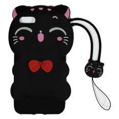 Cantiq Softcase Cat 3D For Apple iPhone 7G Ukuran 4.7 inch / 7G / 7S Silicone 3D Black Meow Party Cat Kitty + Necklace Kalung Kitty / Silicone / Soft Case / Case Unik / Lucky Cat / Manekin Neko / Kucing Hoki - Hitam