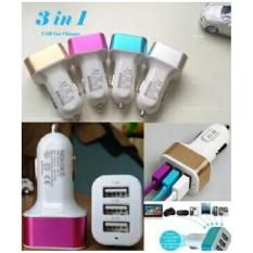 Car Charger 3in1 Port Usb colokan lighter samsung android apple mobil