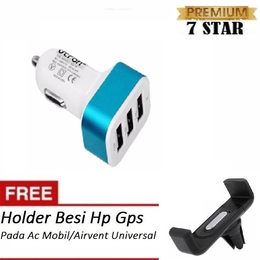 Car Charger 5.1A 3 Port Charger Hp di Mobil + Gratis Holder Besi Hp Gps Pada Ac Mobil / Airvent Universal Mount Holder Besi Hp Gps Pada Ac Mobil / Airvent Universal Mount Hitam