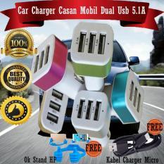 Car Charger 5.1A 3 Port Casan Hp Di Mobil + Gratis Kabel Charger Micro 1M + Ok Stand Hp
