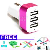 Promo Car Charger 5 1A 3 Port Charger Hp Di Mobil Free Kipas Mini Usb Led Mini Usb Kabel Data Tali Sepatu Micro Usb 3 Meter Car Charger