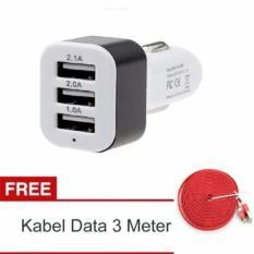 Car Charger 5.1A 3 Port Charger Hp di Mobil + Gratis Kabel Data Tali Sepatu Micro USB 3 Meter