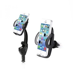 Car Charger Holder, K&F Concept Long Arm One Touch Air Vent Car Cradle Mount with Dual USB Charging for iphone 6 6s Plus 6s 5s 5c Samsung Galaxy S7 Edge S6 S5 Note 5 4 / Android - intl
