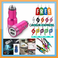 Car Charger Metal 2.1A Fast With Emergency Safety Hammer Window Breaker - Pink + Gratis 1 Kabel Data Tarik Full Warna + 1 Buah Kabel Aux Tali Sepatu Metalik