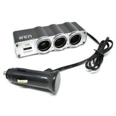 Car Charger Splitter Lighter 3 Lubang dan 1 USB 24V 5A - Hitam