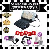 Spesifikasi Car Holder Dashboard Android Iphone Dudukan Mobil Stand Gratis Phone Holder Universal Untuk Gps Hp Handsfree Car Charger 3 1A 2Port Paling Bagus