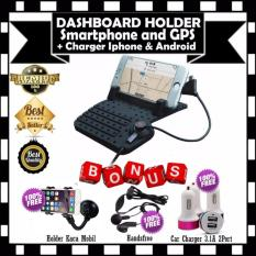 Car Holder Dashboard Android Iphone Dudukan Mobil Stand Gratis Phone Holder Universal Untuk Gps Hp Handsfree Car Charger 3 1A 2Port Terbaru