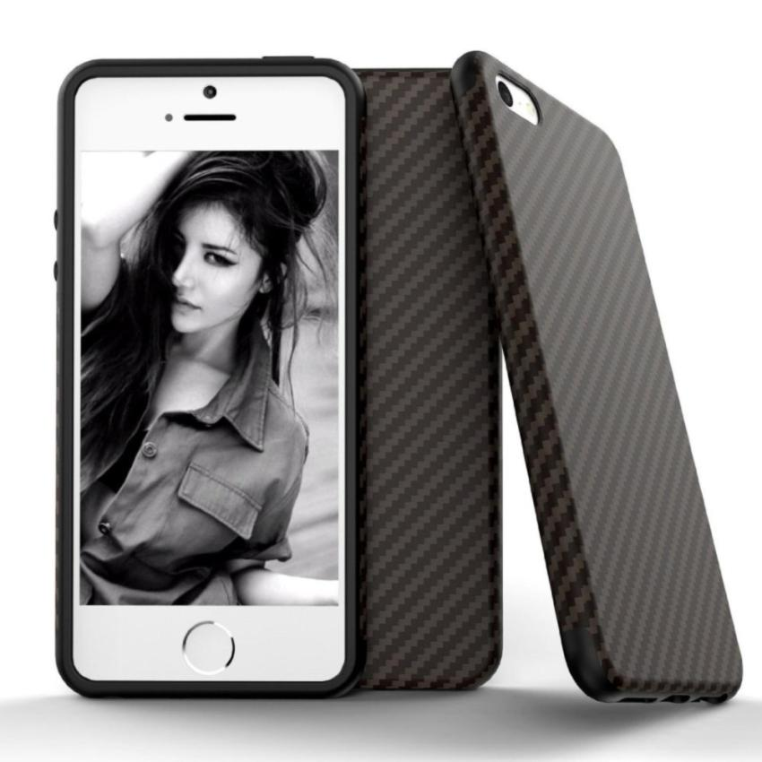 Slim Carbon Case For Iphone 5 / 5s Softcase TPU - Black
