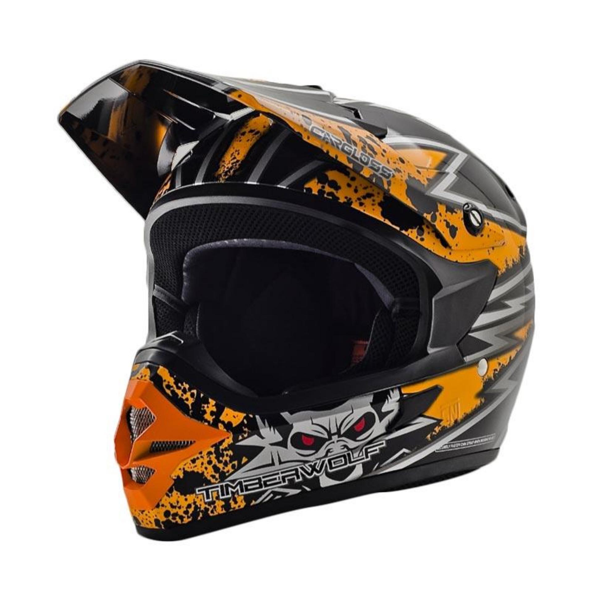Cargloss MXC Timber Wolf Helm Full Face - Orange Deep Black