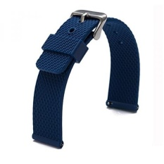 Carty Soft Rubber Silicone Watchbands Diver Watch Band Quick Release Spring Bars 22mm Watch Strap Blue - intl