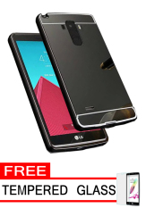 Case Aluminium Bumper Metal Case for LG G4 Stylus - Black + Free Tempered Glass
