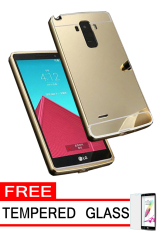 Case Aluminium Bumper Metal Case for LG G4 Stylus - Gold + Free Tempered Glass