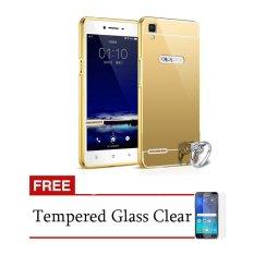Case Aluminium Bumper Mirror for OPPO F1 Selfie Expert - Gold + Free Tempered Glass