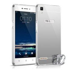 Case Aluminium Bumper Mirror for OPPO F1 Selfie Expert - Silver + Free Tempered Glass