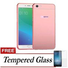 Case Aluminium Bumper With Slide Mirror case For Oppo F1s New (Selfie Expert) + Gratis Tempered Glass - Rose Gold