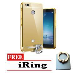 Case Aluminium xiaomi redmi 3 pro redmi 3x Bumper Mirror sleding redmi 3x redmi 3s - gold free iring stand