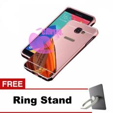 Case Alumunium Bumper With Sleding Mirror Samsung Galaxy J5 J500 Hardcase / Bumper Mirror Samsung J5 / Hard Cover / Back Cover / Casing HP - Rose Gold + Free Ring Stand