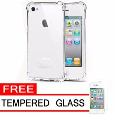 Case Anti Shock / Anti Crack Elegant Softcase  for Apple iPhone 4 / 4S / 4G - White Clear + Free Tempered Glass