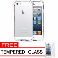Case Anti Shock / Anti Crack Elegant Softcase  for Apple iPhone 5 / 5s / 5G - White Clear + Free Tempered Glass