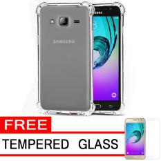 Case Anti Shock / Anti Crack Elegant Softcase  for Samsung Galaxy J3 2016 (J310) - White Clear + Free Tempered Glass